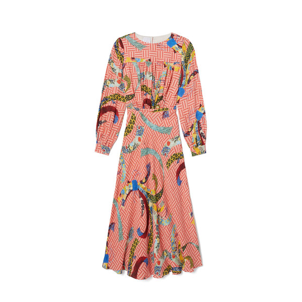 Stella Jean Printed Long-Sleeve Dress