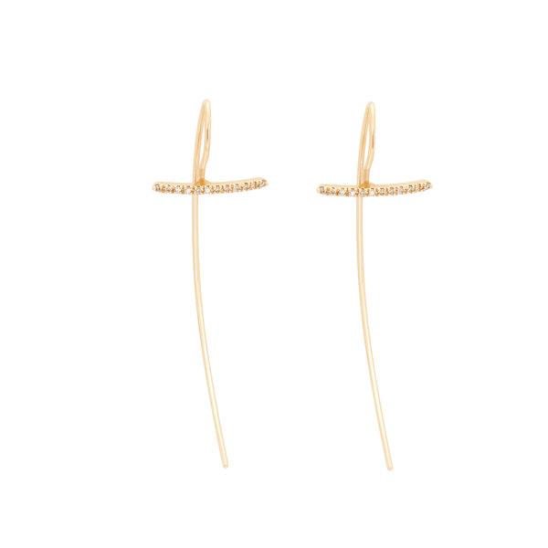 Hirotaka Gossamer Short Diamond Hook Earrings