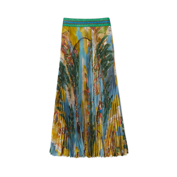 Stella Jean Gonna Japanese Map Pleated Skirt
