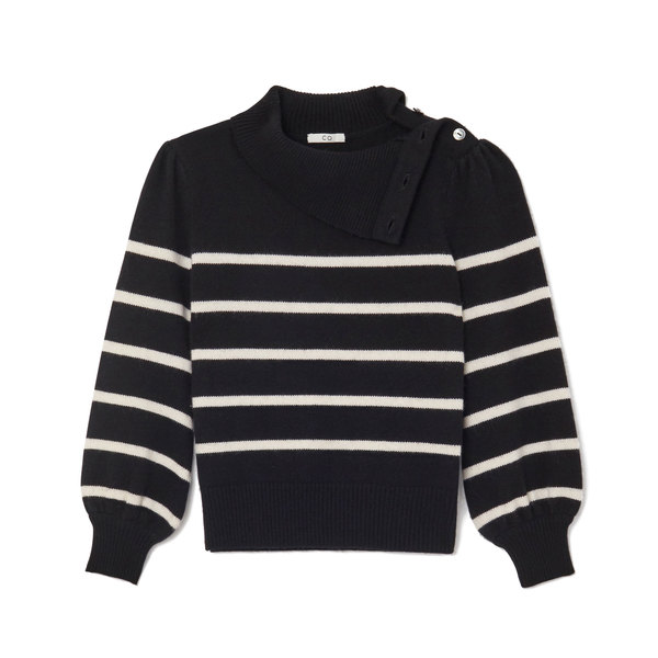 Co Wool-Cashmere Striped Turtleneck Sweater