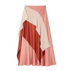 Mahira Colorblock Ruffled Silk Skirt