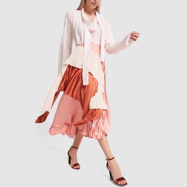 ROKSANDA Mahira Colorblock Ruffled Silk Skirt