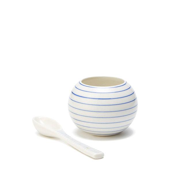Anne Black  Porcelain Sugar Bowl Set, Striped