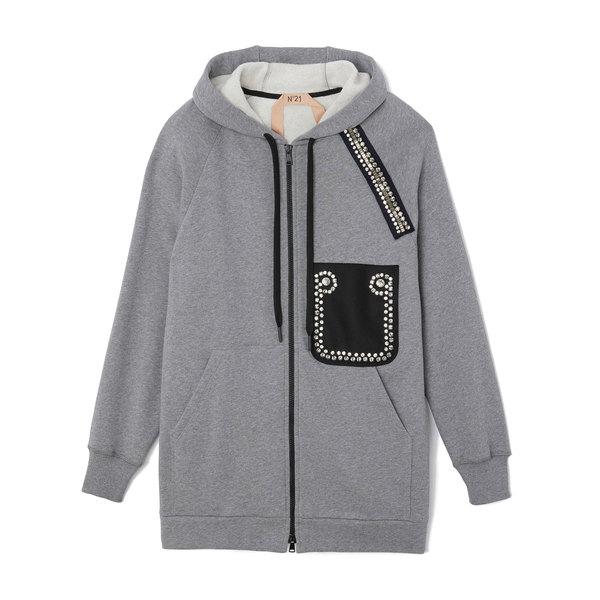 No. 21 Sweatshirt With Rhinestones