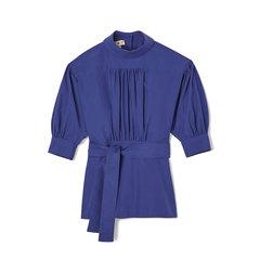 Mock-Neck Elbow-Sleeve Cotton Blouse