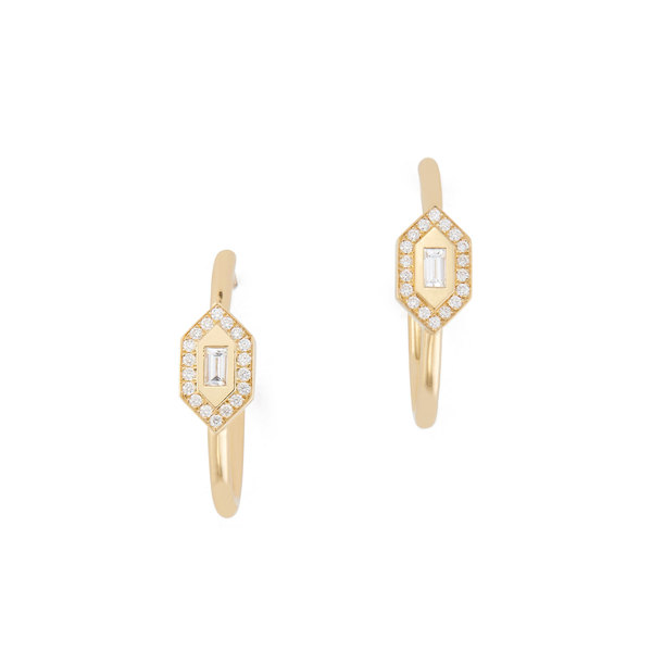 Azlee Yellow Gold Diamond Hoops