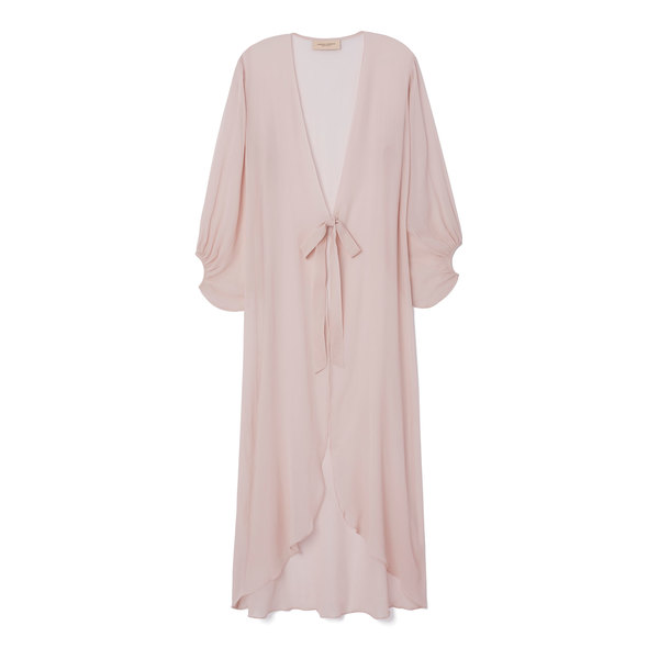 Adriana Degreas Silk Georgette Solid Long Robe