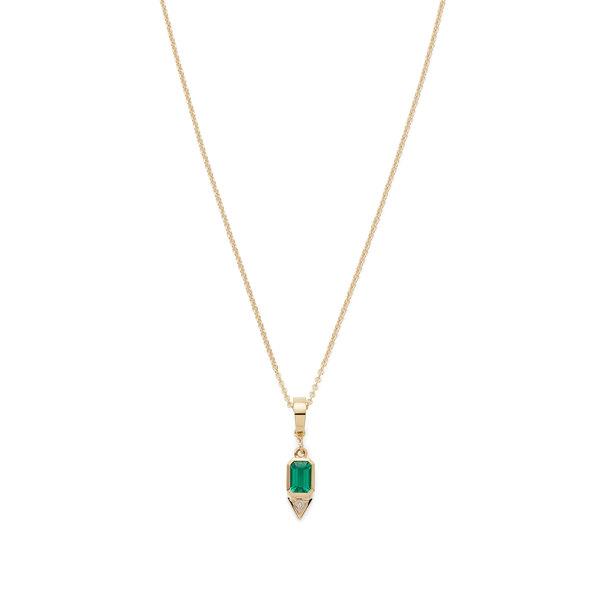 "Azlee Emerald & Trillion Small Diamond Charm with 20"" Chain"