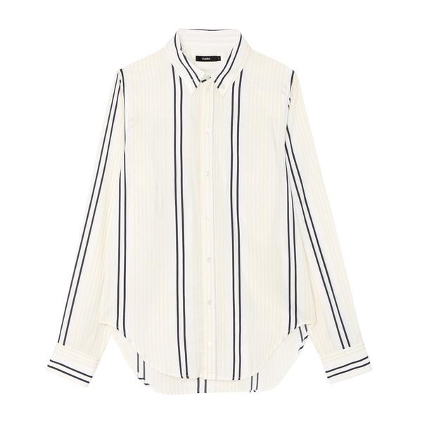 Bassike Stripe Classic Open-Yoke Shirt
