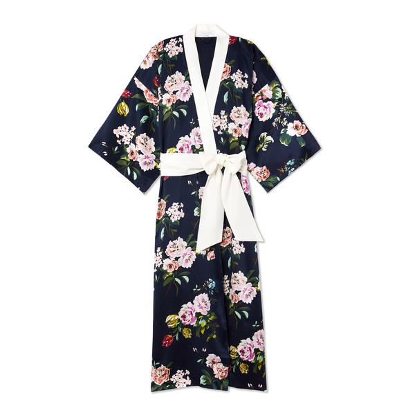 Olivia von Halle Queenie Floral Silk Kimono Robe