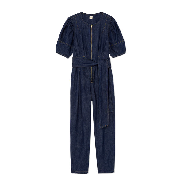 Rebecca Taylor La Vie Short-Sleeve Drapey Denim Jumpsuit