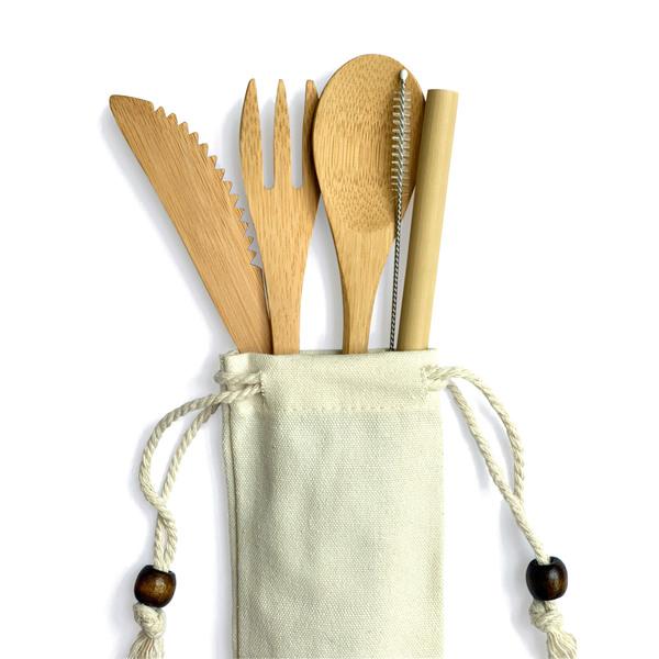 Bamboo Straw Girl  Bamboo Cutlery Set
