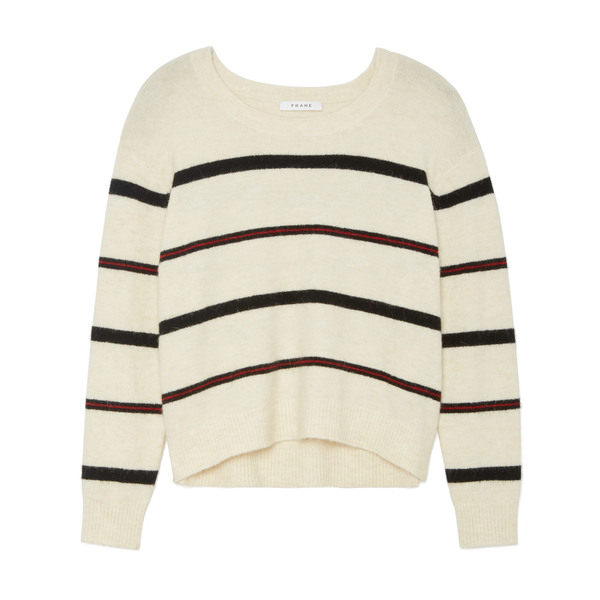 Frame Slouchy Striped Crew Sweater