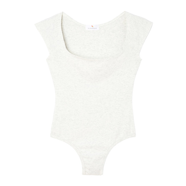 Gil Rodriguez El Tigre Scoop-Neck Thong Bodysuit with Cap Sleeves