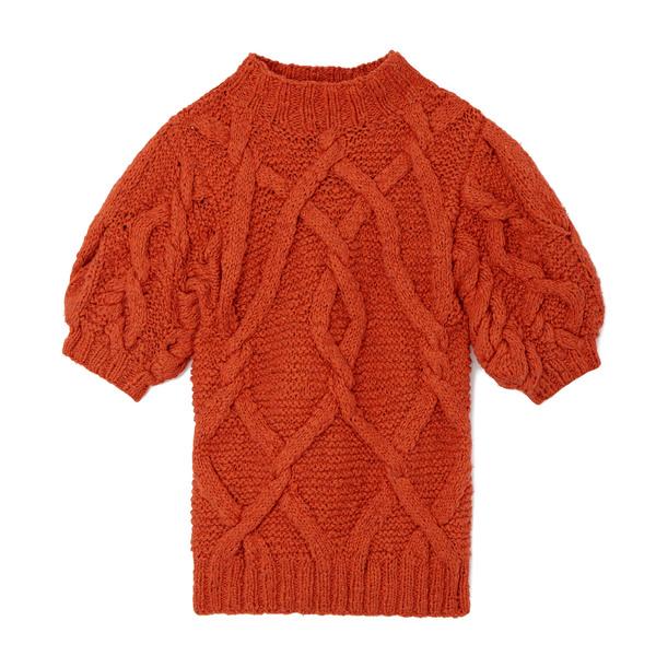 Ulla Johnson Berna Short-Sleeve Cable-Knit Pullover