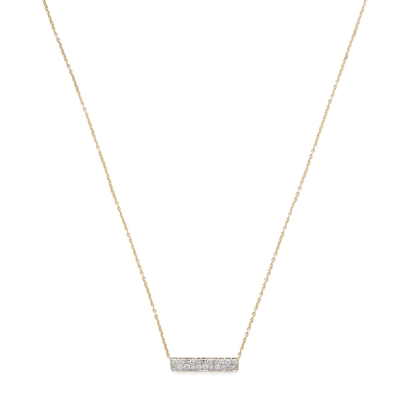Eriness Diamond Staple Yellow-Gold Necklace