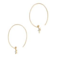 Diamond Star Charm Yellow-Gold Earrings
