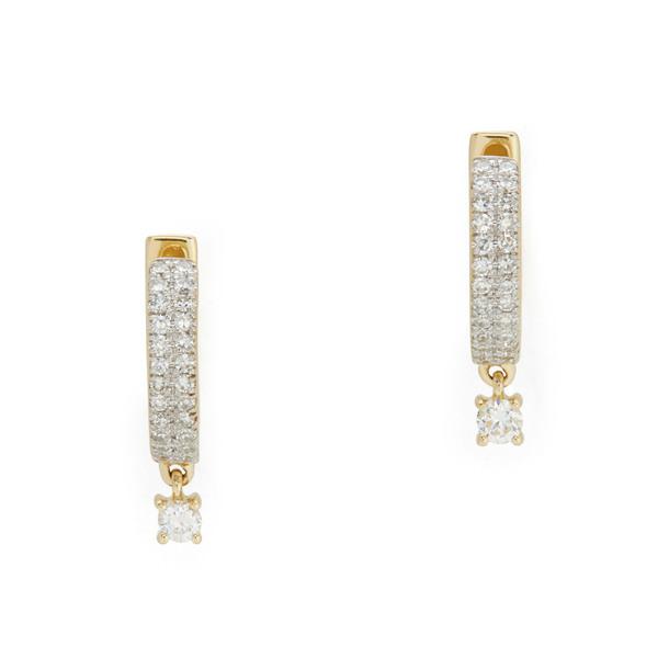 Eriness Diamond Yellow-Gold Huggies with Round Diamond Drop