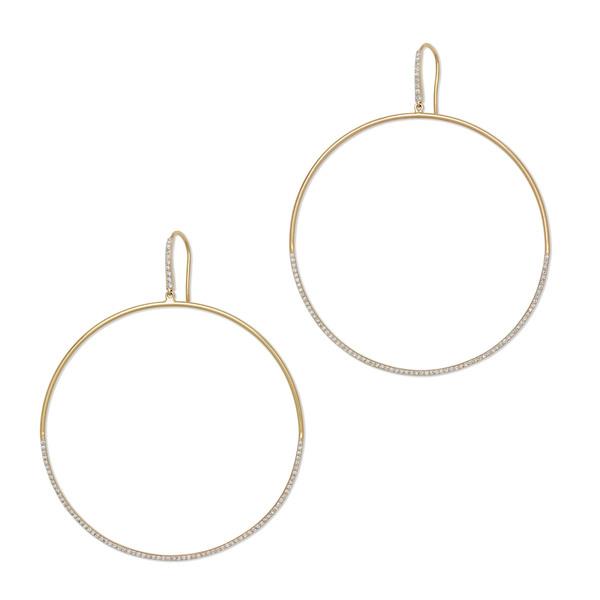 Eriness Diamond Drop Yellow-Gold Hoops