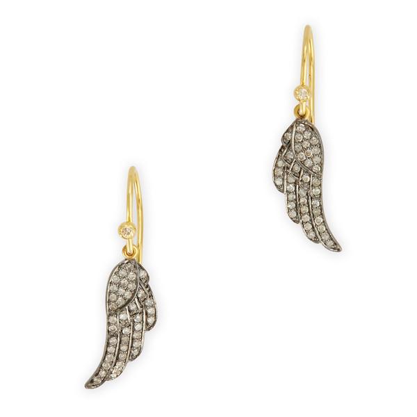 Kirstie Le Marque Pavé Diamond Angel Wing Dangle Earrings