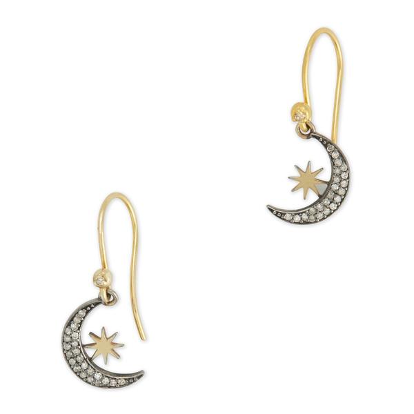 Kirstie Le Marque Pavé Diamond Moon Crescent Dangle Earrings