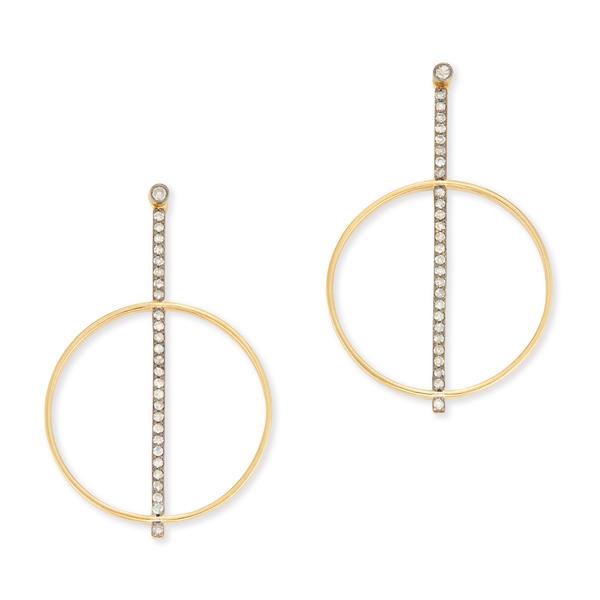 KIRSTIE LE MARQUE Pavé Diamond Bar With Hoop Earrings