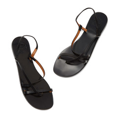 Lizza Black Leather Sandals