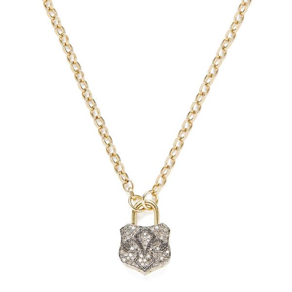 Kirstie Le Marque Pavé Diamond Lock Pendant Necklace
