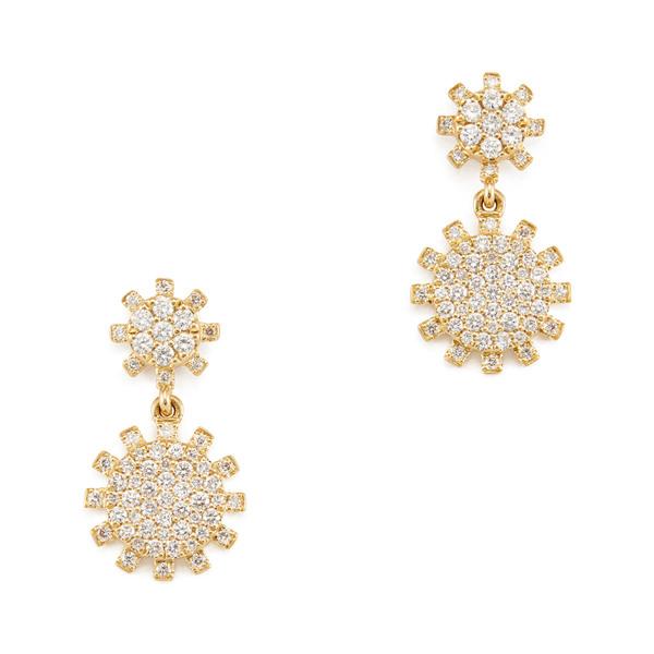Rosa de la Cruz Sunflower Diamond Yellow Gold Hanging Earrings