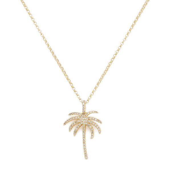 Rosa de la Cruz Palm Pendant Gold Diamond Necklace