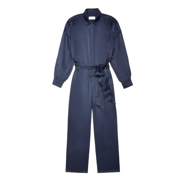 Datura Ren Silk Satin Long-Sleeve Jumpsuit
