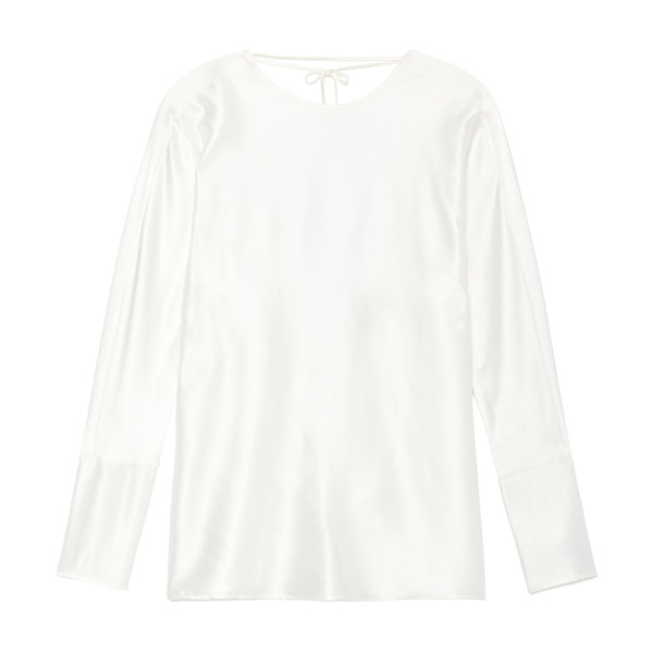Datura Esther Silk Satin Long-Sleeve Top