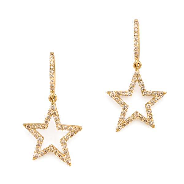 Rosa de la Cruz 20mm Gold Diamond Star Earrings