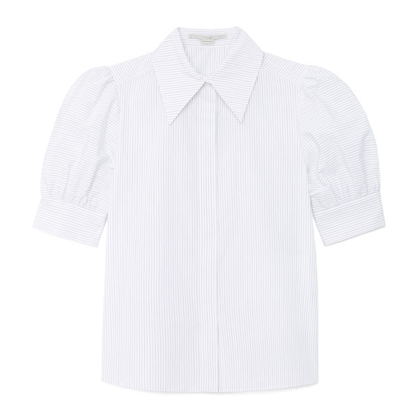 Stella McCartney Puff-Sleeve Poplin Button-Up Shirt