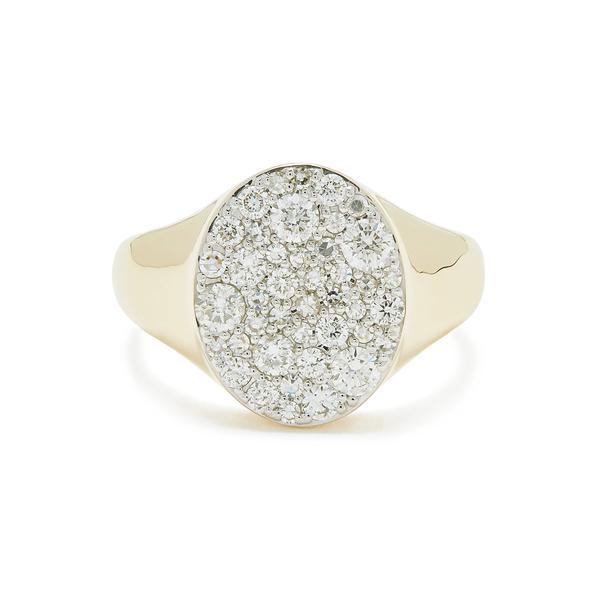 ERINESS Diamond Pinky Yellow-Gold Signet Ring