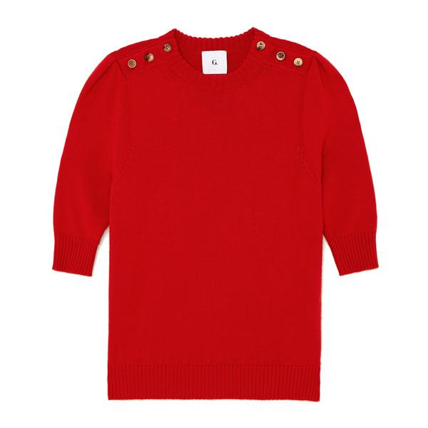 G. Label Churches Button-Shoulder Short-Sleeve Sweater