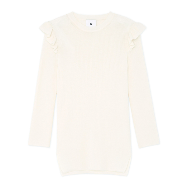 G. Label Monina Ruffle-Shoulder Slim Sweater