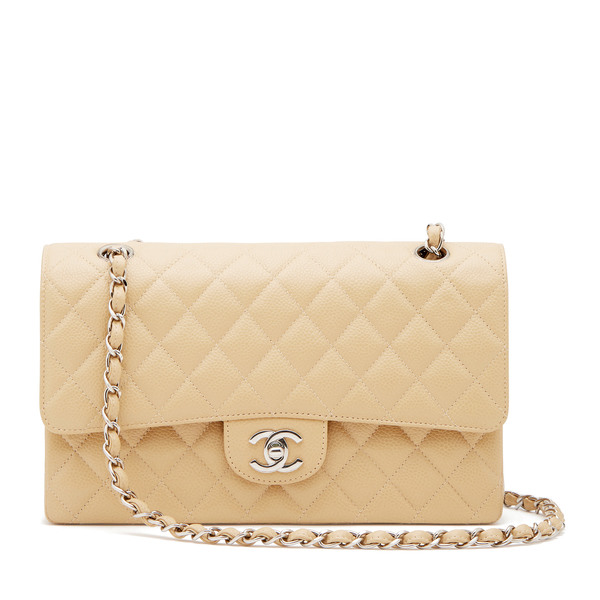 What Goes Around Comes Around Chanel Beige Caviar 2.55 10""