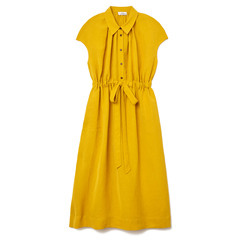 Fluid Linen Yellow Dress