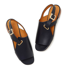 Ada Navy Leather Sandals