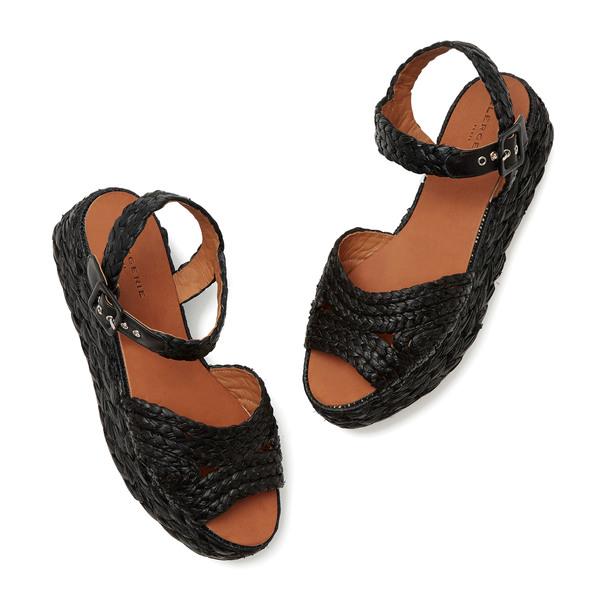 Clergerie Aude Raffia Flatform Sandals