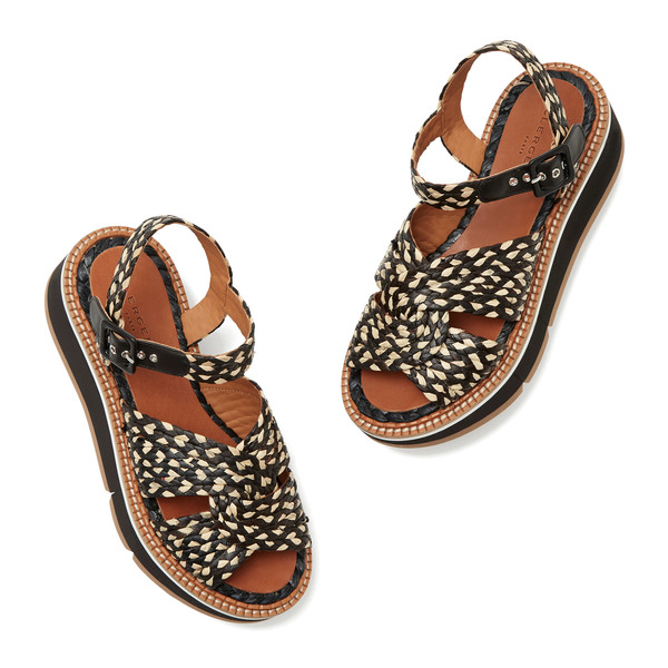 Clergerie Aqua Contrast Raffia Flatform Sandals