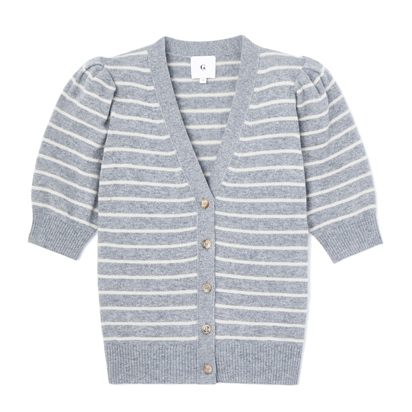 G. Label Juliette Short-Sleeve Striped Cardigan