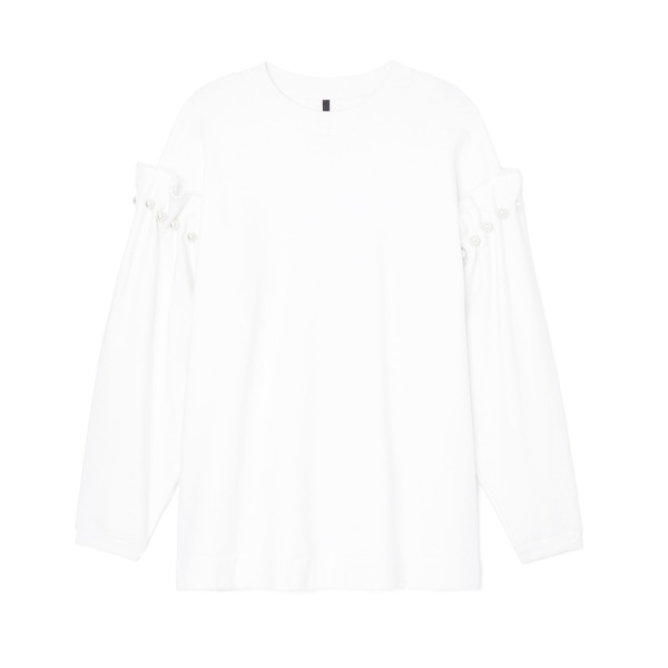 Mother of Pearl Jersey Sweater with Pearl Shoulder