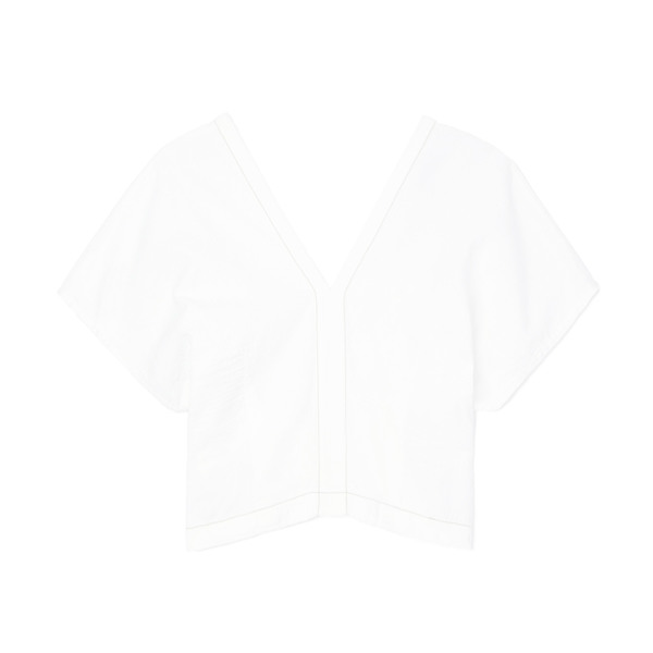Bassike Fitted V-Neck Slouch Top