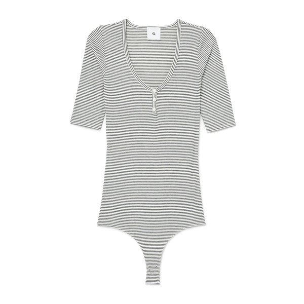 G. Label Annika Mid-Sleeve Henley Bodysuit
