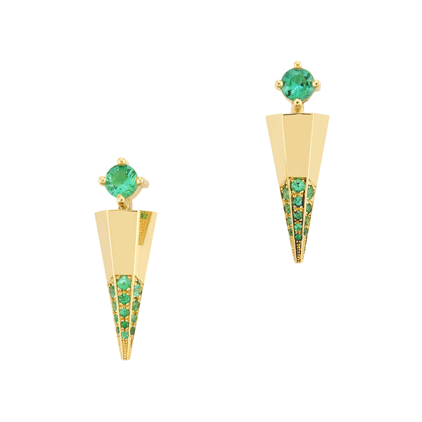 Ark Fine Jewelry Blooming Lotus Emerald Mini Dagger Earrings