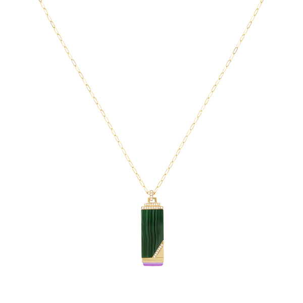 Sorellina Plain Gemstone Tablet Necklace