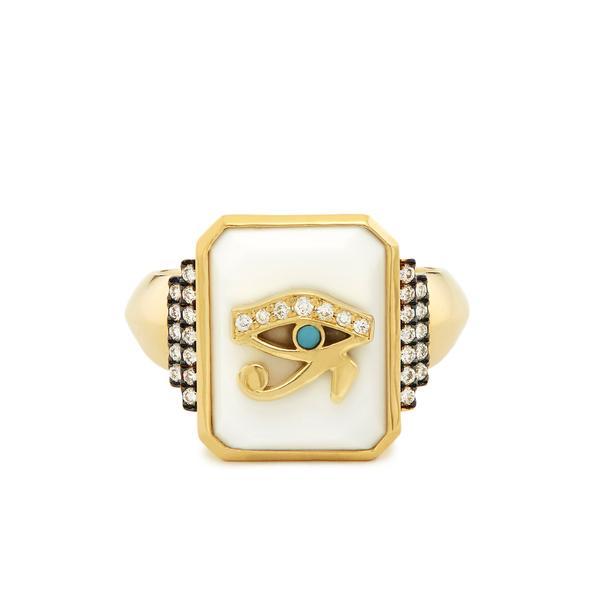 SORELLINA Customizable Zodiac White Onyx Signet Ring