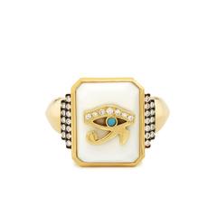 Customizable Zodiac White Onyx Signet Ring